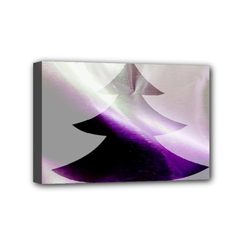 Purple Christmas Tree Mini Canvas 6  X 4  by yoursparklingshop