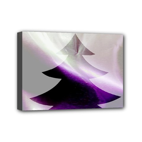 Purple Christmas Tree Mini Canvas 7  X 5  by yoursparklingshop