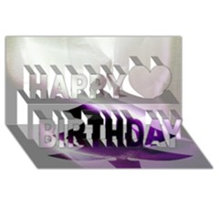 Purple Christmas Tree Happy Birthday 3d Greeting Card (8x4)