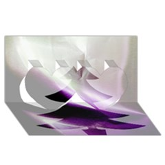 Purple Christmas Tree Twin Hearts 3d Greeting Card (8x4)
