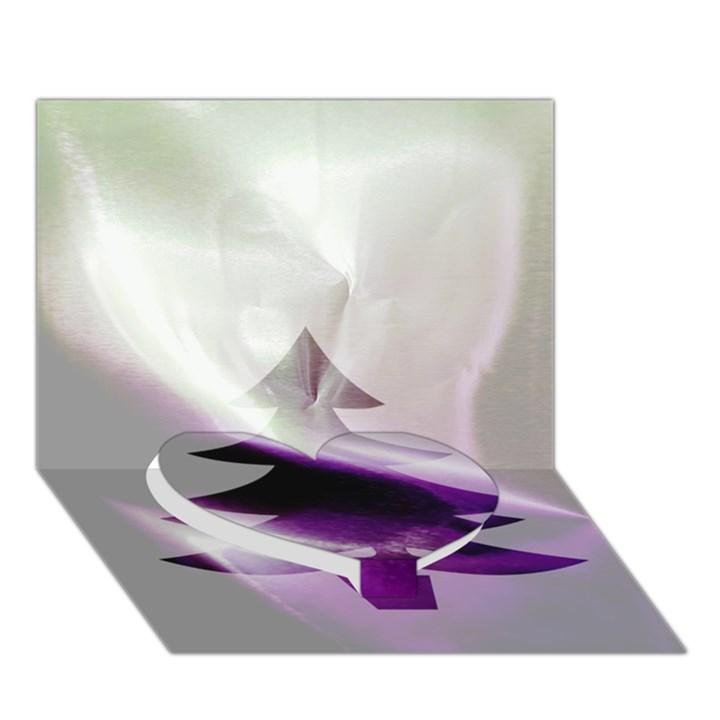 Purple Christmas Tree Heart Bottom 3D Greeting Card (7x5)
