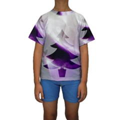 Purple Christmas Tree Kids  Short Sleeve Swimwear
