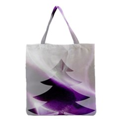 Purple Christmas Tree Grocery Tote Bag by yoursparklingshop