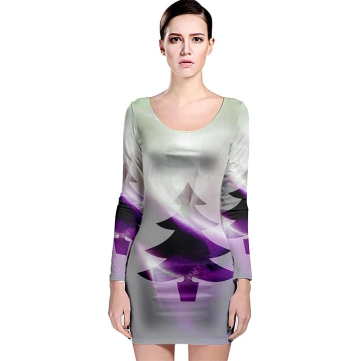 Purple Christmas Tree Long Sleeve Bodycon Dress