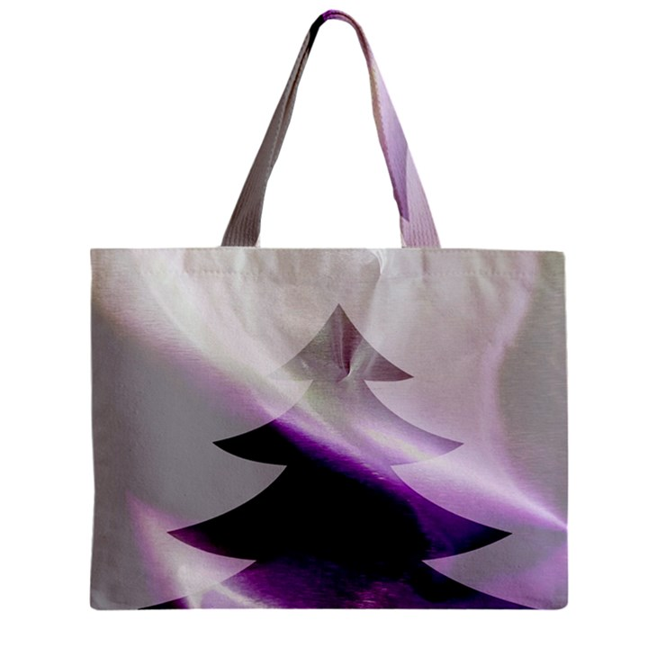 Purple Christmas Tree Zipper Mini Tote Bag
