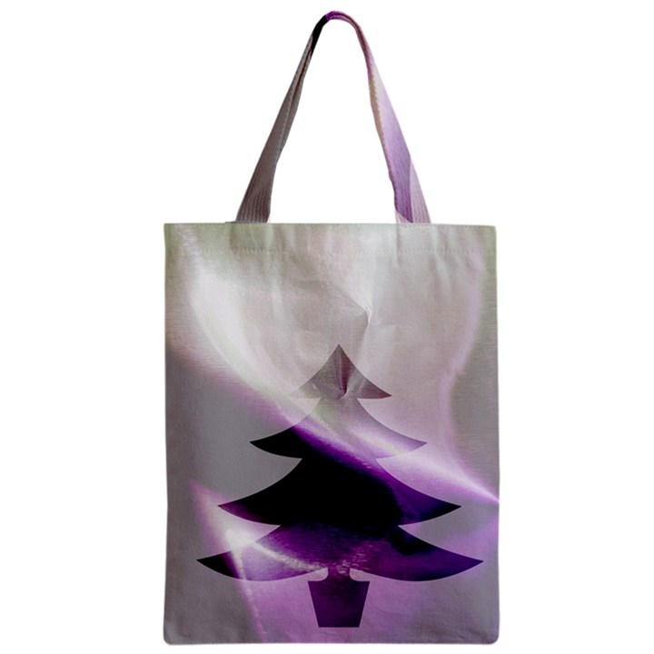 Purple Christmas Tree Zipper Classic Tote Bag