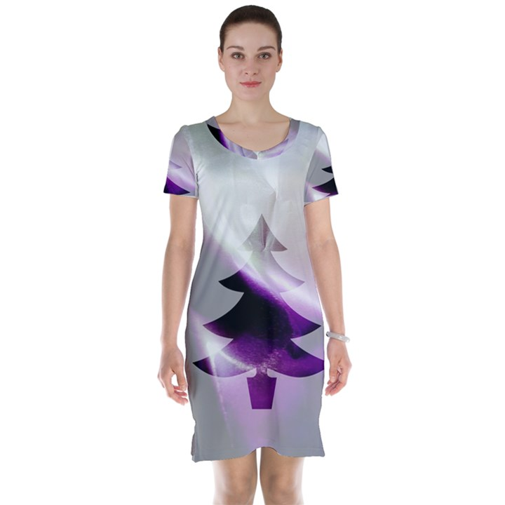 Purple Christmas Tree Short Sleeve Nightdress