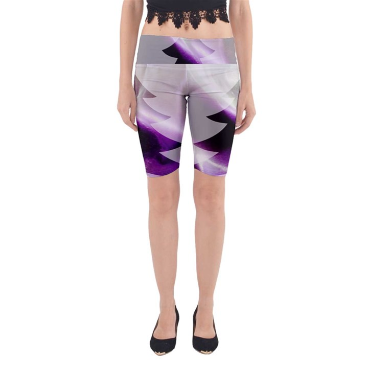 Purple Christmas Tree Yoga Cropped Leggings