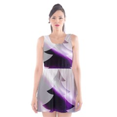 Purple Christmas Tree Scoop Neck Skater Dress