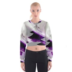 Purple Christmas Tree Women s Cropped Sweatshirt