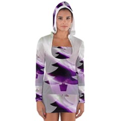 Purple Christmas Tree Women s Long Sleeve Hooded T Shirt by yoursparklingshop