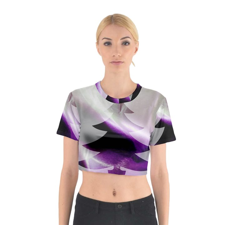 Purple Christmas Tree Cotton Crop Top