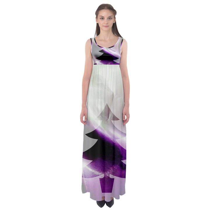 Purple Christmas Tree Empire Waist Maxi Dress