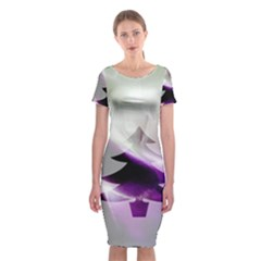 Purple Christmas Tree Classic Short Sleeve Midi Dress