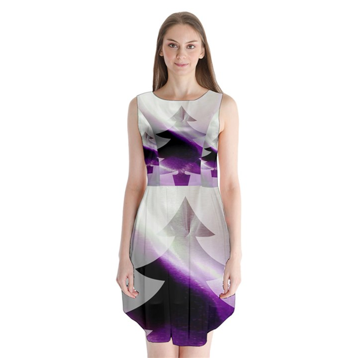 Purple Christmas Tree Sleeveless Chiffon Dress