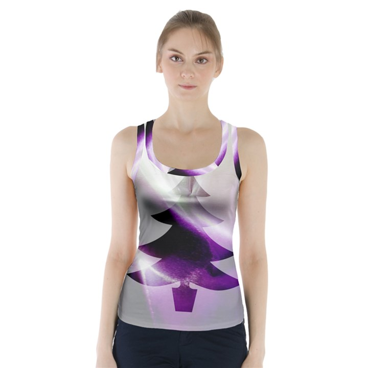 Purple Christmas Tree Racer Back Sports Top