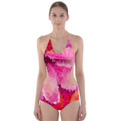 Geometric Magenta Garden Cut-Out One Piece Swimsuit