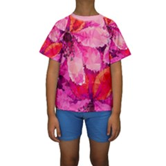 Geometric Magenta Garden Kids  Short Sleeve Swimwear