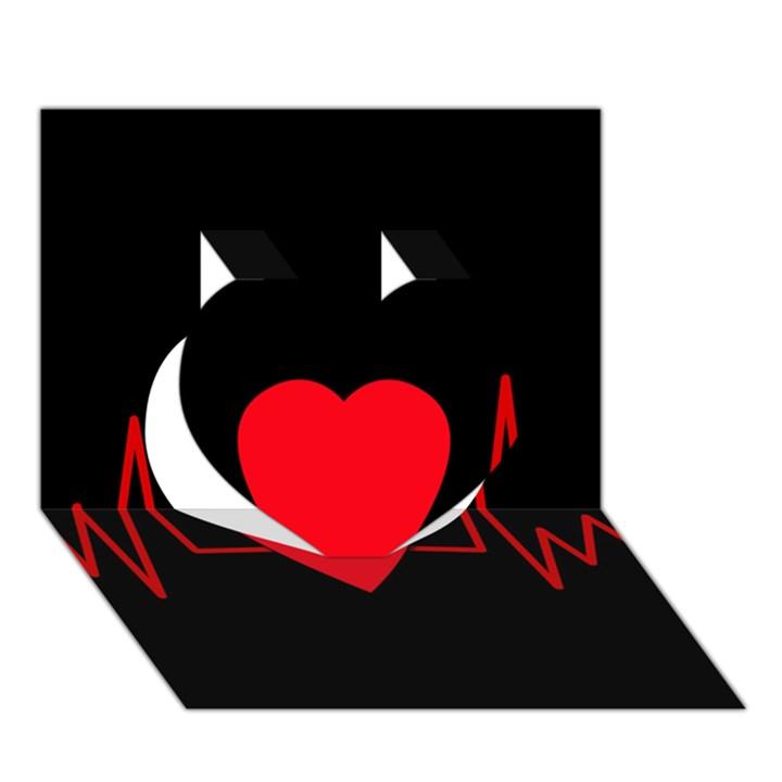 Hart bit Heart 3D Greeting Card (7x5)