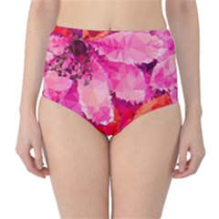 Geometric Magenta Garden High-Waist Bikini Bottoms