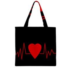 Hart Bit Zipper Grocery Tote Bag by Valentinaart