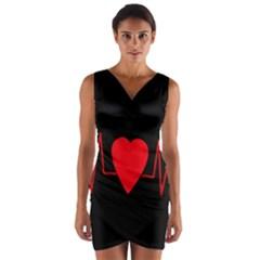 Hart Bit Wrap Front Bodycon Dress