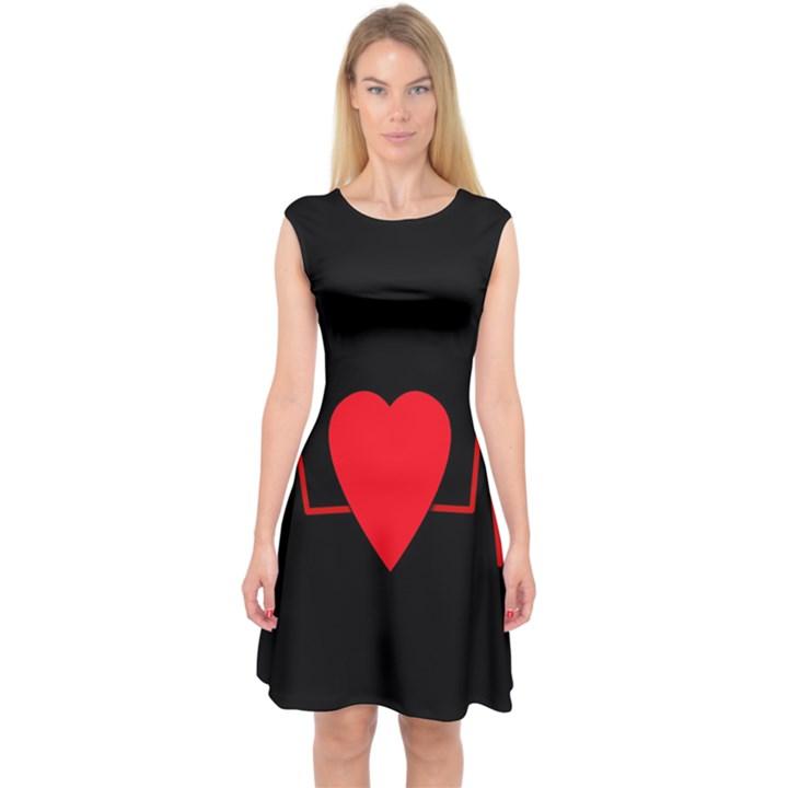 Hart bit Capsleeve Midi Dress