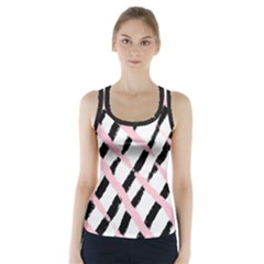 Pink And Black Sketch Checkers Racer Back Sports Top