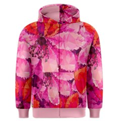 Geometric Magenta Garden Men s Zipper Hoodie