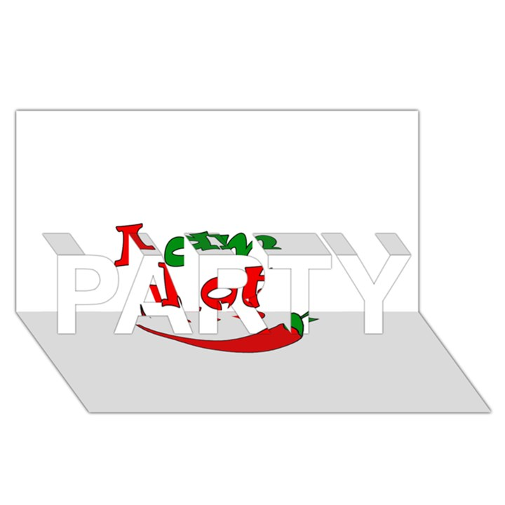 I am hot  PARTY 3D Greeting Card (8x4)