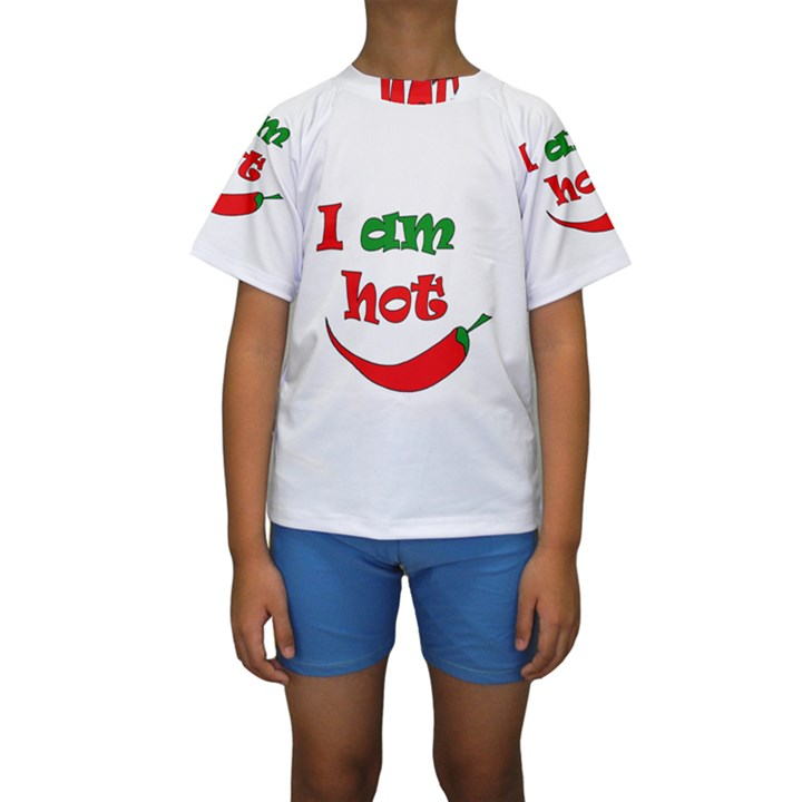 I am hot  Kids  Short Sleeve Swimwear