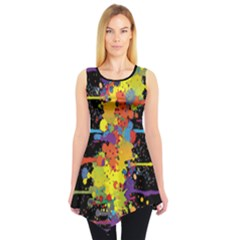 Crazy Multicolored Double Running Splashes Tunic by EDDArt
