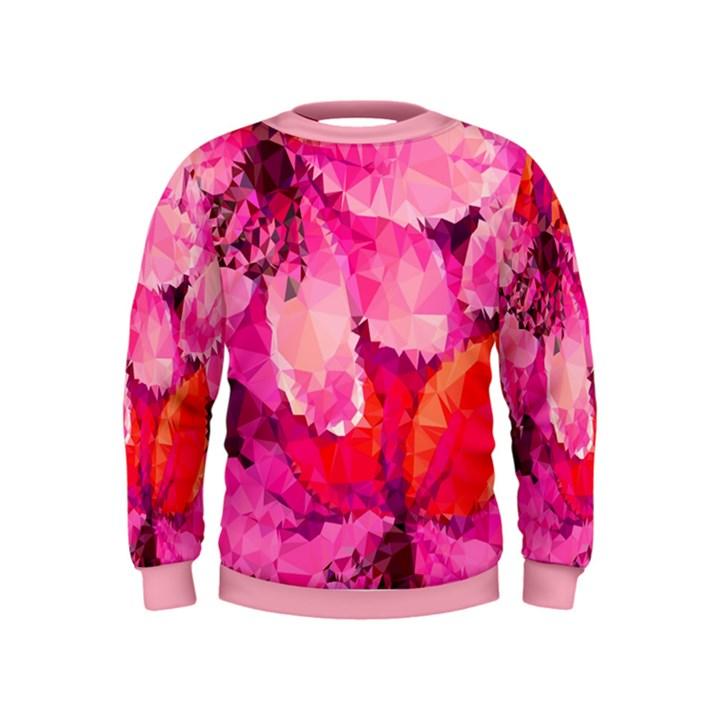 Geometric Magenta Garden Kids  Sweatshirt