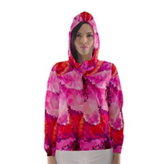 Geometric Magenta Garden Hooded Wind Breaker (Women)
