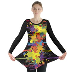Crazy Multicolored Double Running Splashes Long Sleeve Tunic  by EDDArt