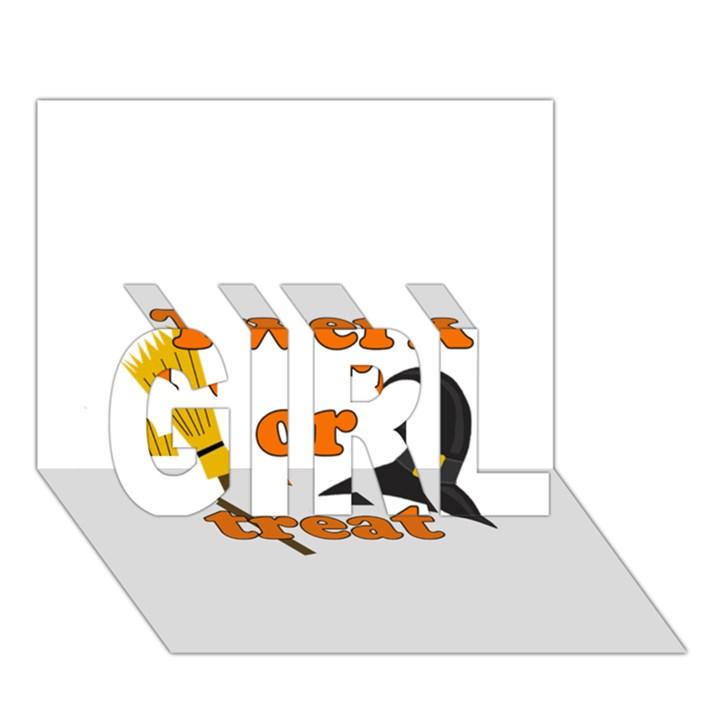 Twerk or treat - Funny Halloween design GIRL 3D Greeting Card (7x5)