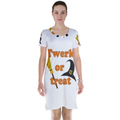 Twerk Or Treat   Funny Halloween Design Short Sleeve Nightdress by Valentinaart