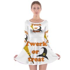 Twerk Or Treat   Funny Halloween Design Long Sleeve Skater Dress by Valentinaart