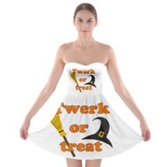 Twerk Or Treat   Funny Halloween Design Strapless Bra Top Dress