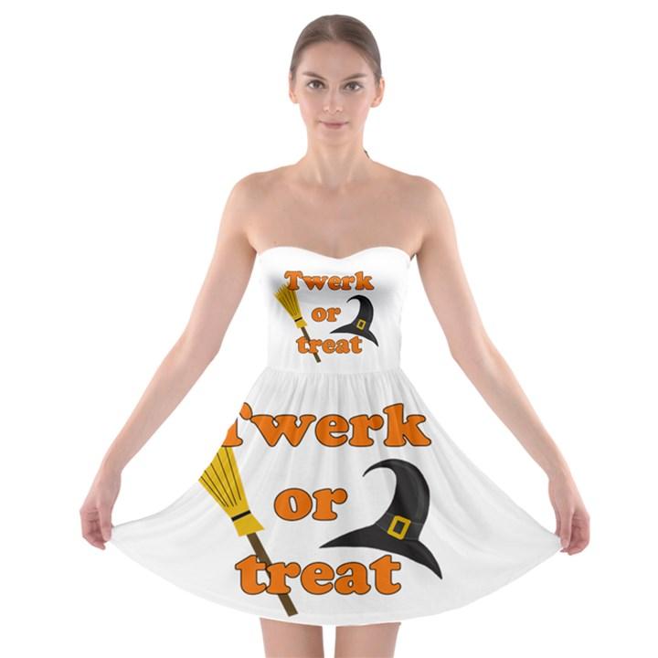 Twerk or treat - Funny Halloween design Strapless Bra Top Dress