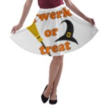 Twerk or treat - Funny Halloween design A-line Skater Skirt