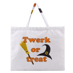 Twerk Or Treat   Funny Halloween Design Zipper Large Tote Bag by Valentinaart