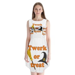 Twerk Or Treat   Funny Halloween Design Sleeveless Chiffon Dress   by Valentinaart