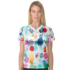 Colorful Diamonds Dream Women s V Neck Sport Mesh Tee by DanaeStudio