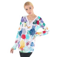 Colorful Diamonds Dream Women s Tie Up Tee by DanaeStudio