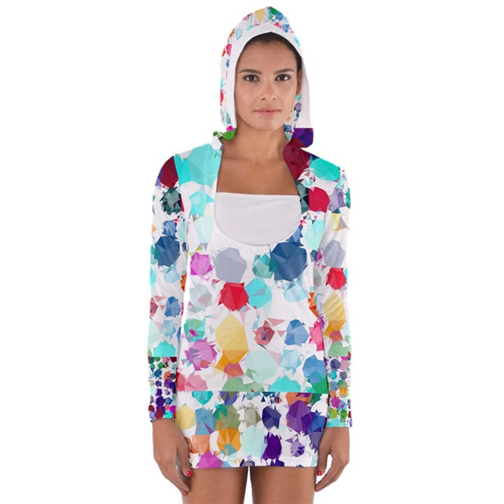 Colorful Diamonds Dream Women s Long Sleeve Hooded T-shirt