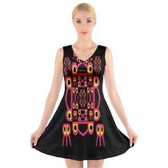 Alphabet Shirt V Neck Sleeveless Skater Dress