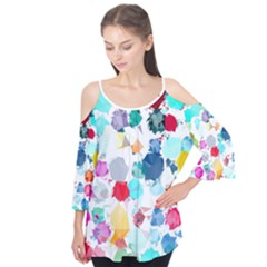 Colorful Diamonds Dream Flutter Sleeve Tee  by DanaeStudio