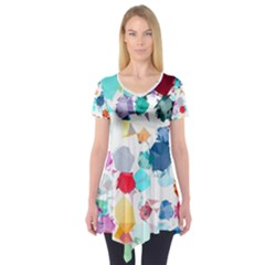 Colorful Diamonds Dream Short Sleeve Tunic  by DanaeStudio