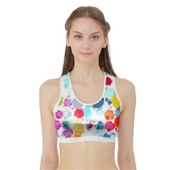 Colorful Diamonds Dream Sports Bra With Border by DanaeStudio
